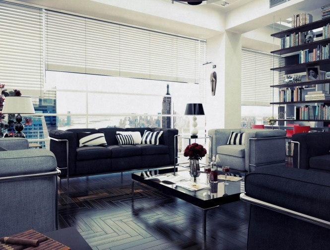 Via Kalando81Here we're looking at décor with a slightly industrial edge, or a subtly masculine air about it, where plain robust fabrics rule on furniture with metal detailing, surrounded by interesting worldly knickknacks and extensive book collections.