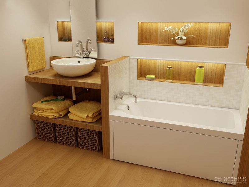 White yellow oak fitted bathroom interior design ideas for Yellow and brown bathroom decor