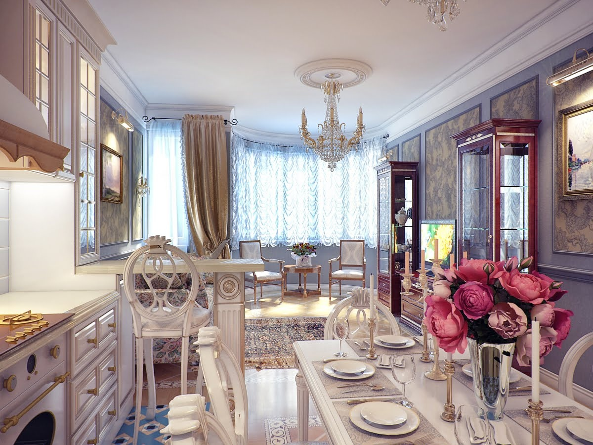 Classical kitchen dining room decor interior design ideas for Dining room kitchen ideas