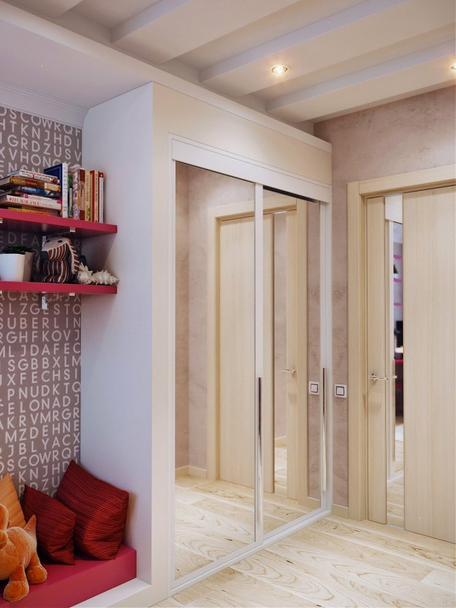 White mirrored wardrobes