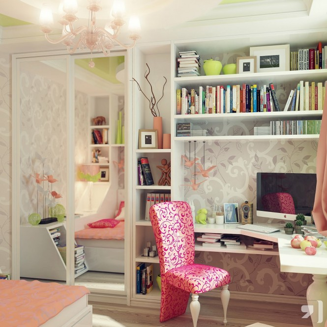 This teenage girls room is filled with feminine patterns, in the fabric of the prettily covered office chair and the delicate wallpaper that backs the work zone and sleeping area.