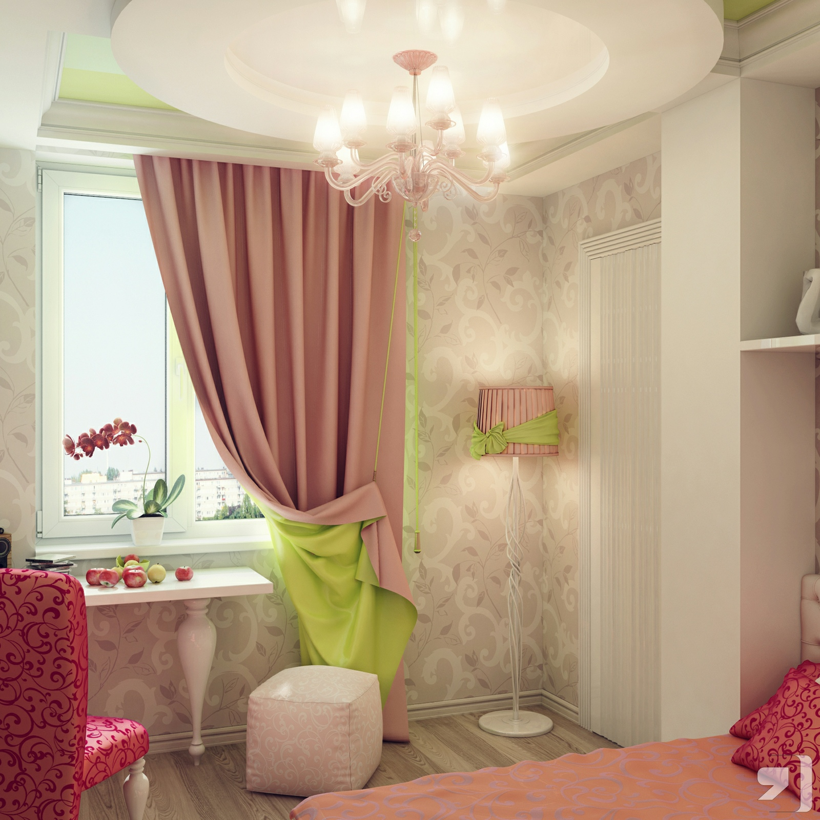 Pink green cream girls bedroom | Interior Design Ideas.