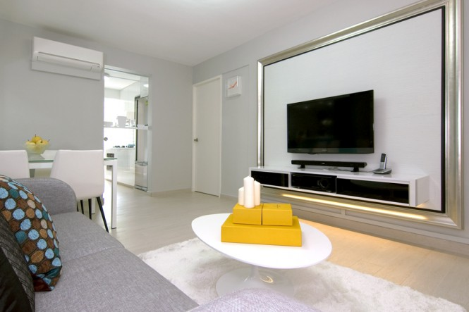 White gray yellow living room