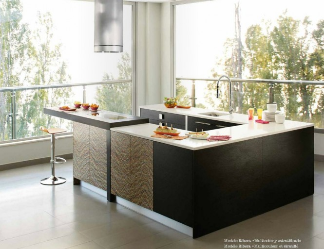 Black brown modern kitchen design