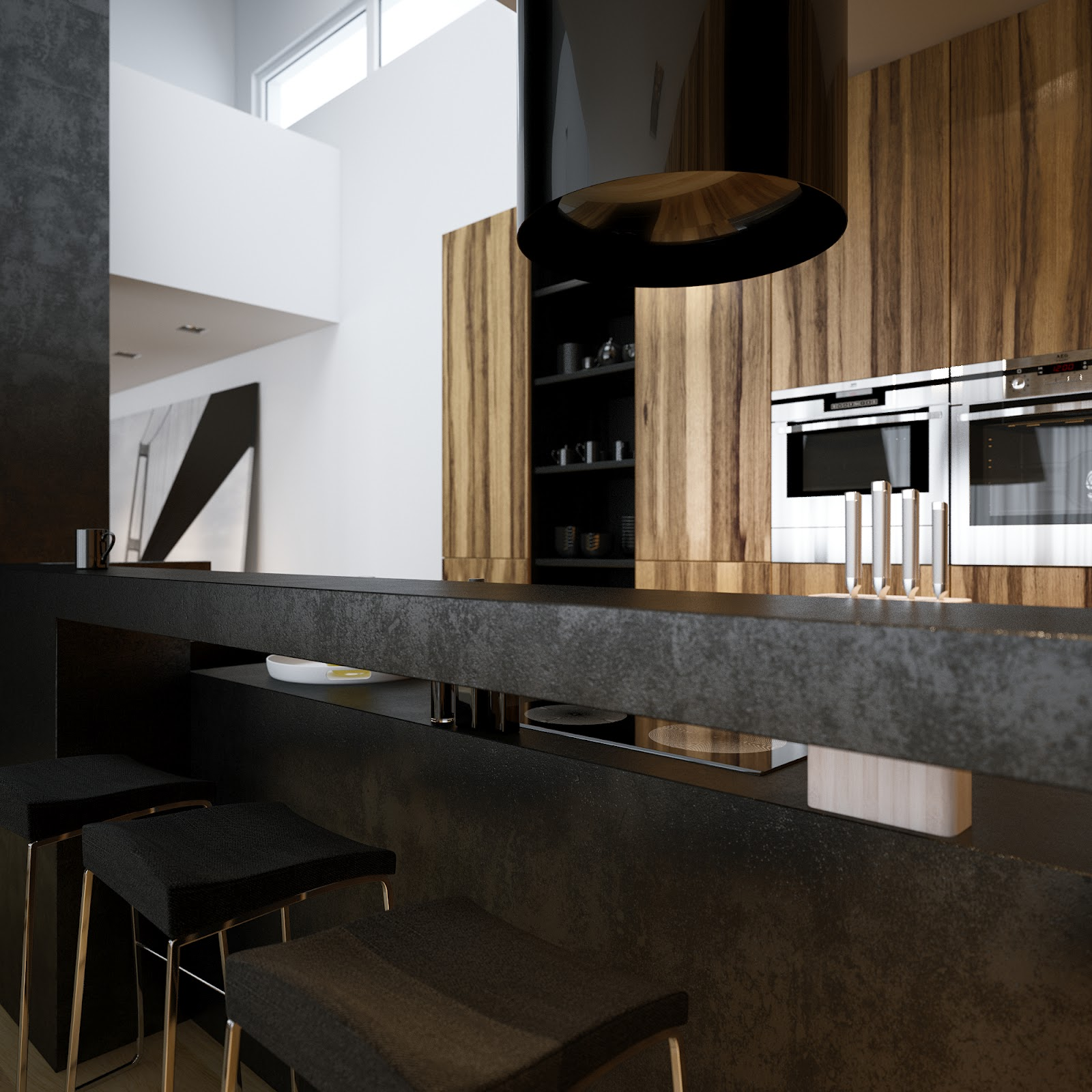Modern minimalist black and white lofts for Modern kitchen design with bar