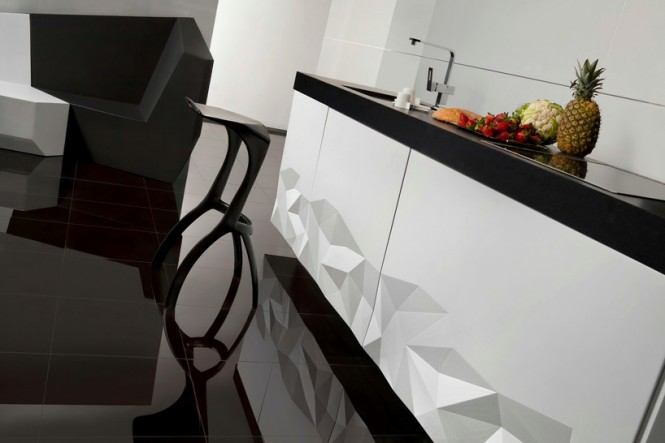 Black white kitchen chunky worktop