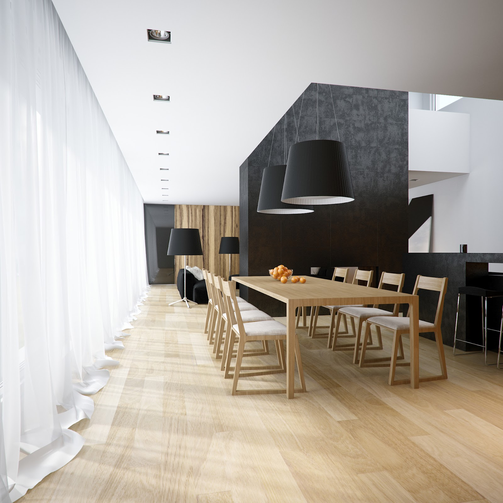 Modern minimalist black and white lofts for Minimalist wall