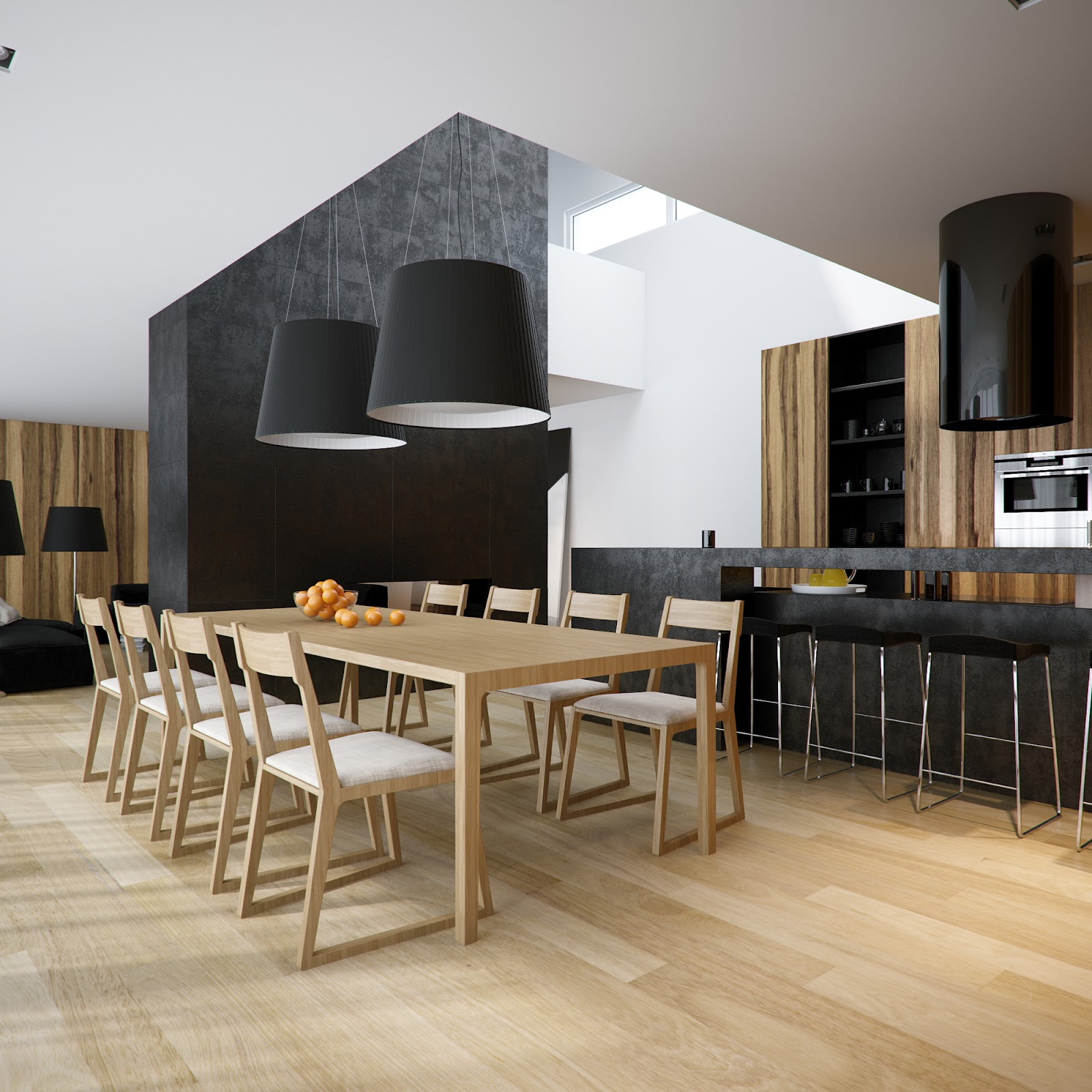 Modern minimalist black and white lofts for Dining room kitchen