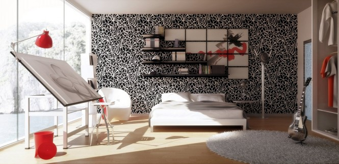 Via 3DQartA monochrome backdrop makes the cherry red accessories in this room sing, and despite the busy and intricate pattern used edge to edge over this large feature wall, all of the other elements still manage to stand their ground as part of the design, thanks to a paired back palette.
