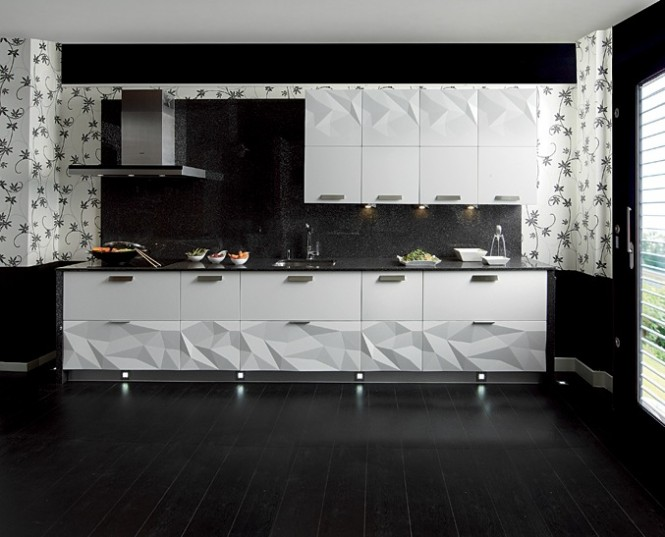 Gloss white kitchen black backsplash