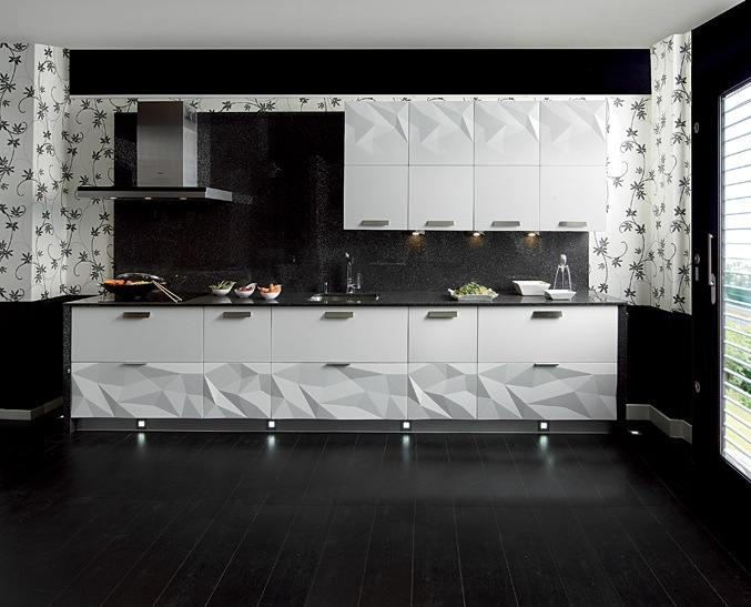 Gloss white kitchen black backsplash interior design ideas for Modern kitchen wallpaper ideas