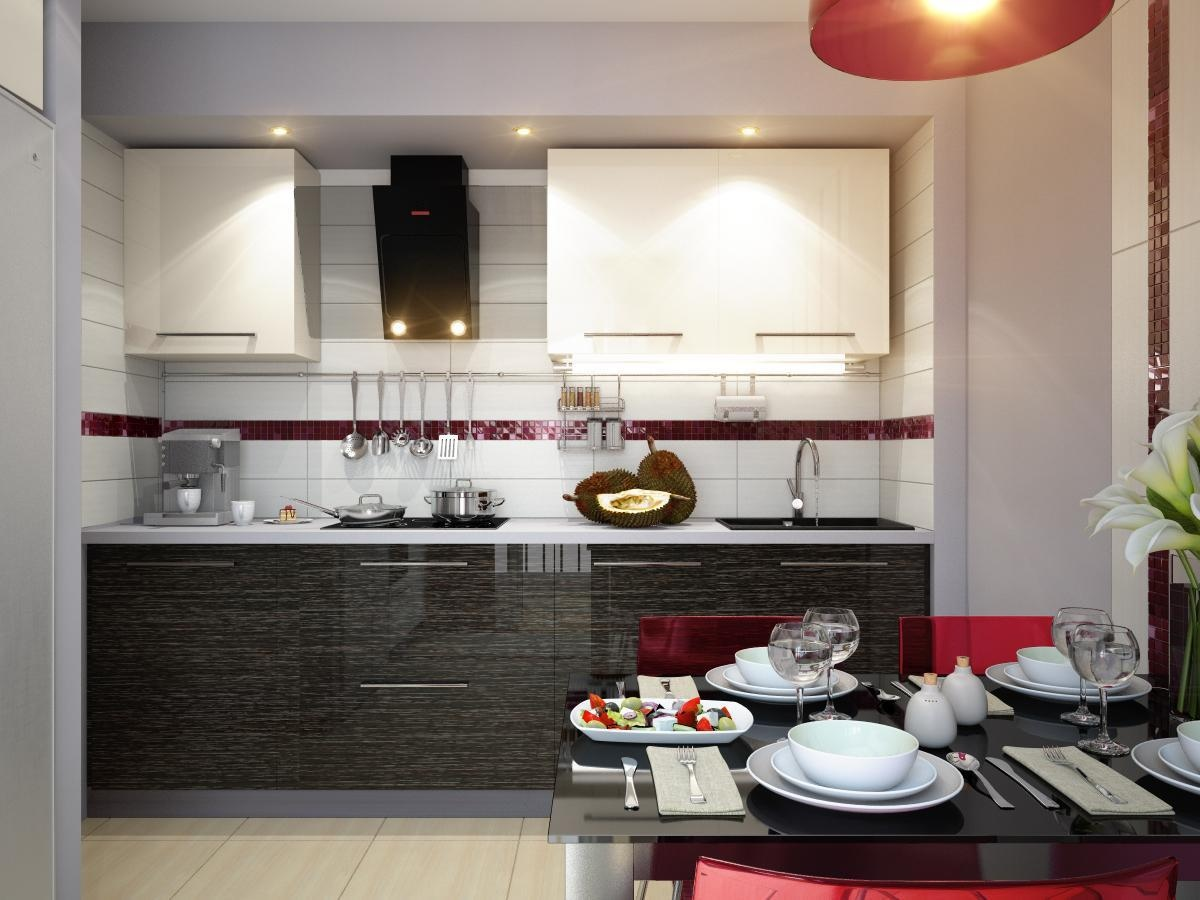 red white black modern kitchen dining decor style On contemporary kitchen dining room designs