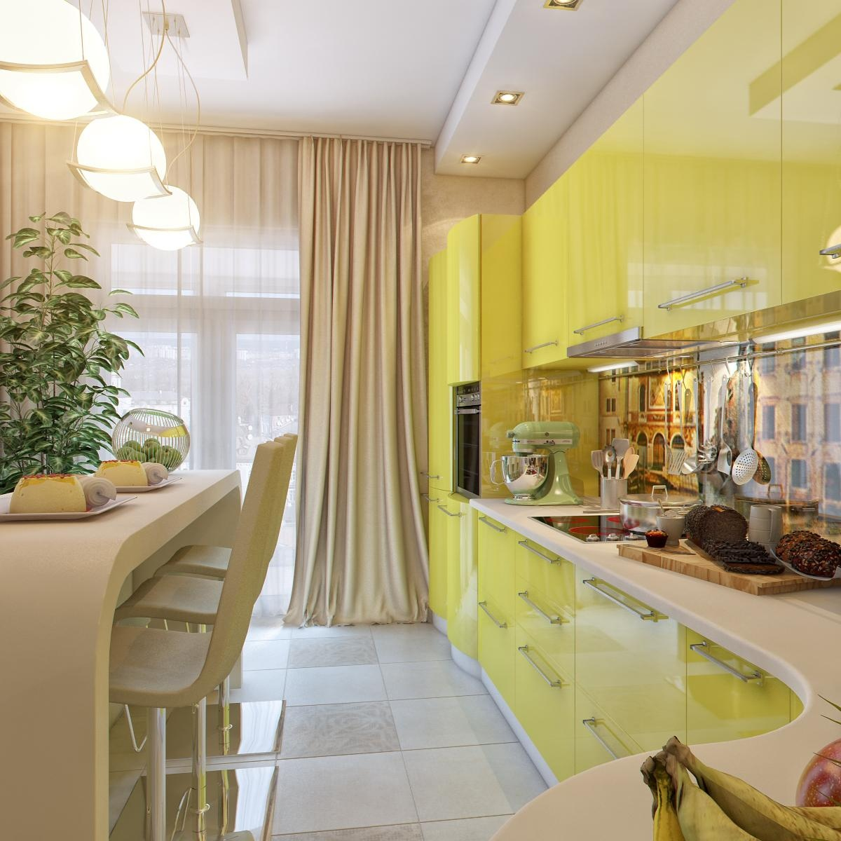 Yellow white kitchen dining space interior design ideas Kitchen design yellow and white