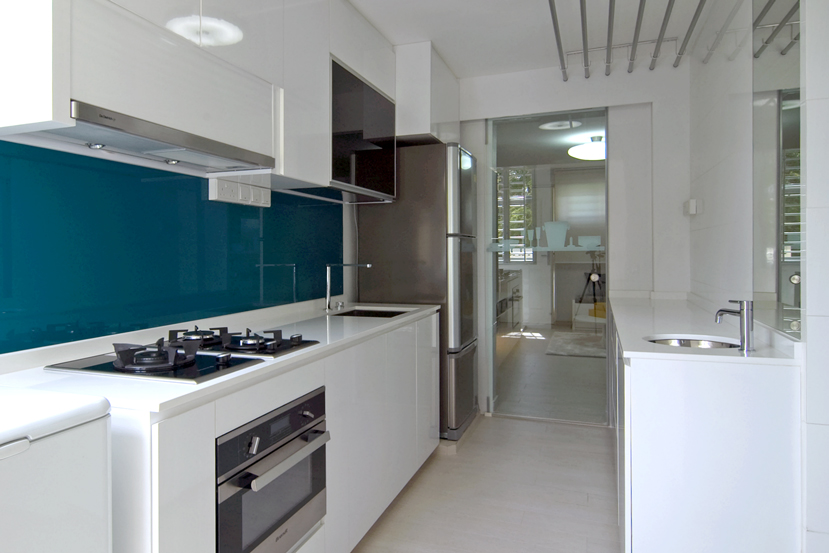 White kitchen teal backsplash interior design ideas Kitchen backsplash ideas singapore