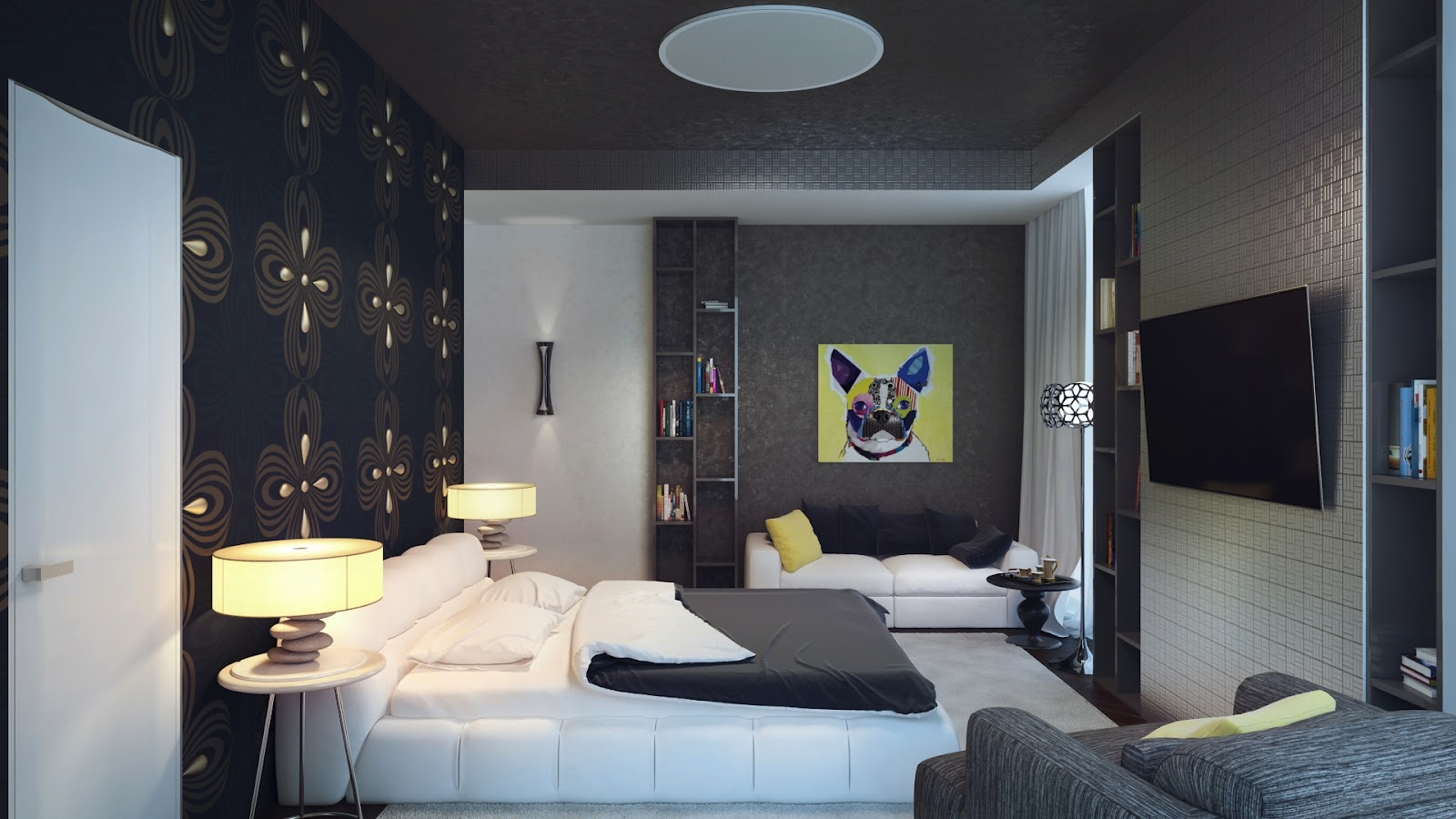 Black white yellow bedroom interior design ideas for Grey feature wallpaper bedroom