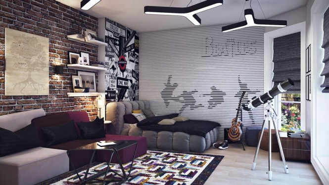 A huge Beatle themed wall mural is complimented by trendy road sign art and a loft-style exposed brick wall.