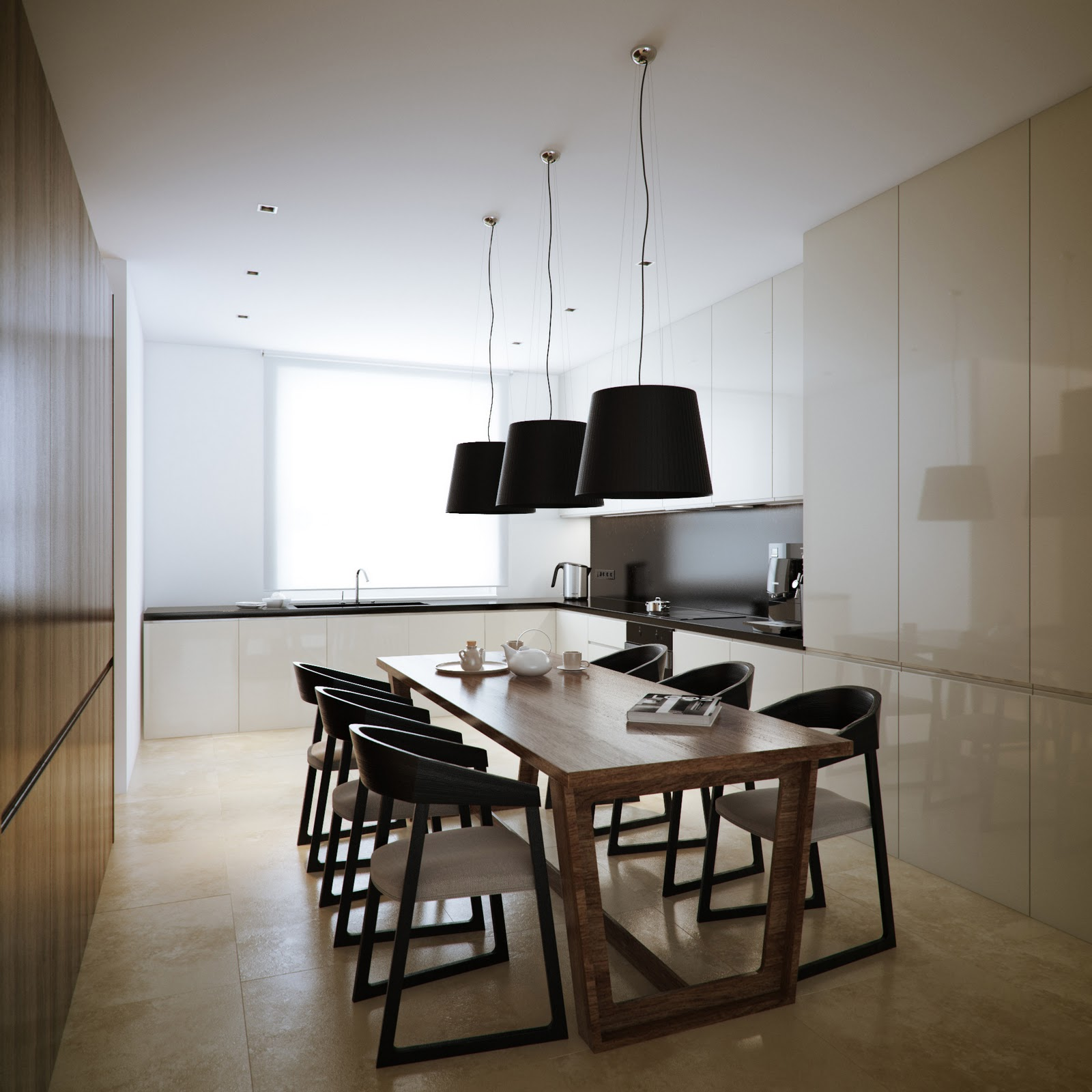 Modern minimalist black and white lofts Kitchen room furniture design