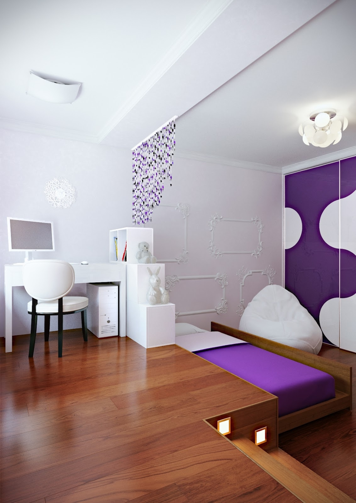 Purple white modern bedroom hideaway bed interior design - Camas en el suelo ...