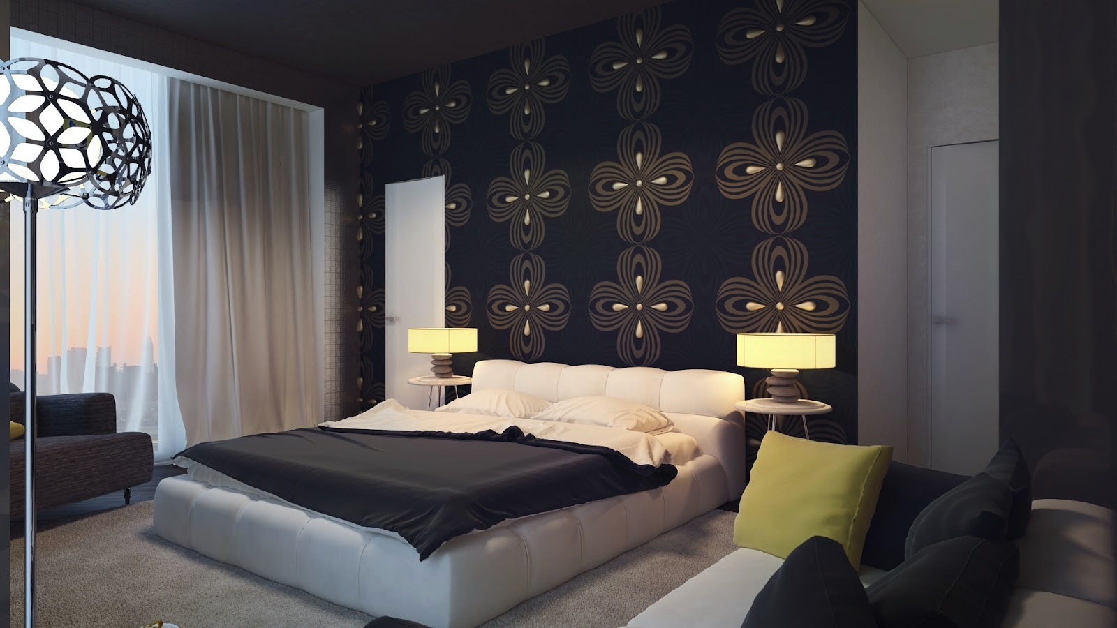 Black bedroom feature wall