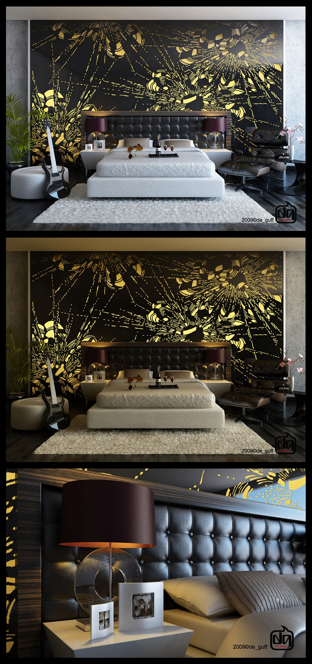 Black yellow bedroom feature wall mural interior design for Black and yellow bedroom designs