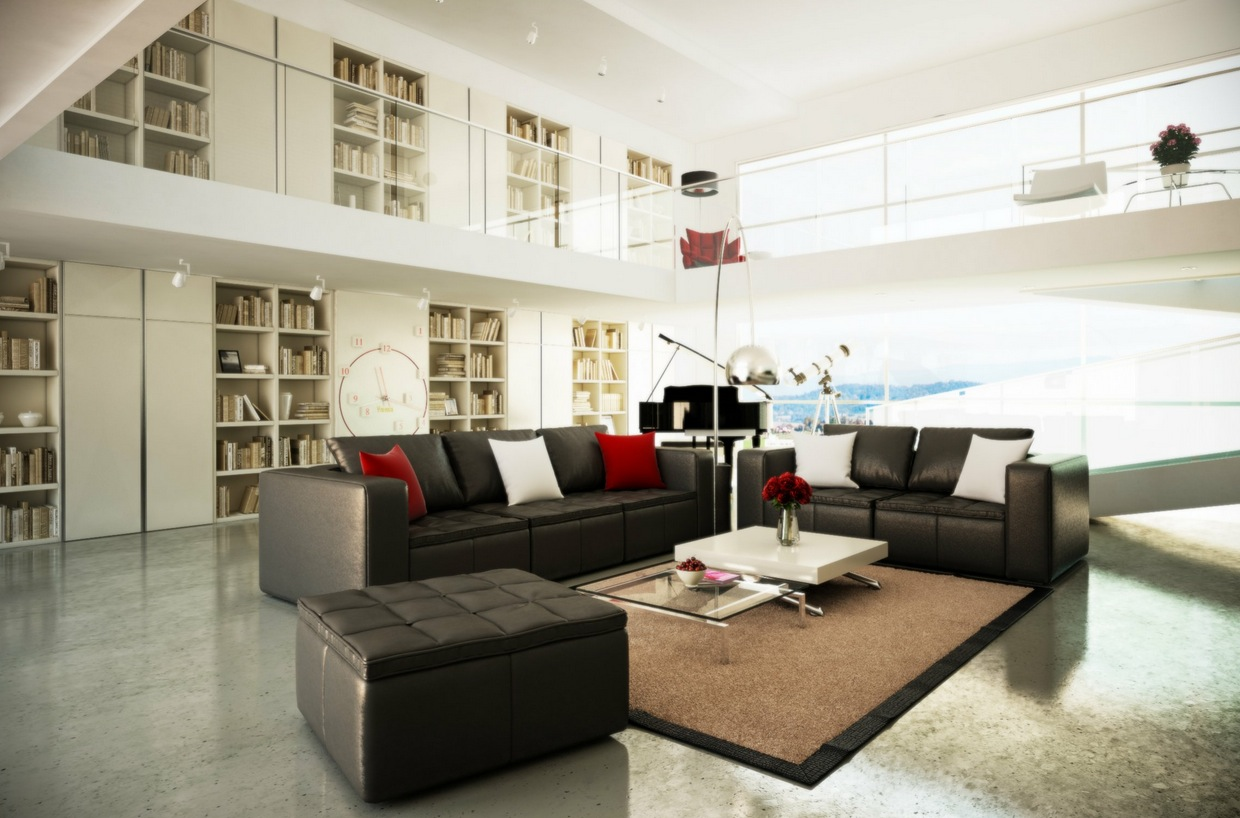 Black white brown living room mezzanine interior design for Black living room ideas