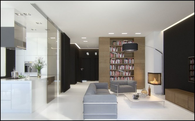 Black brown gray white living area
