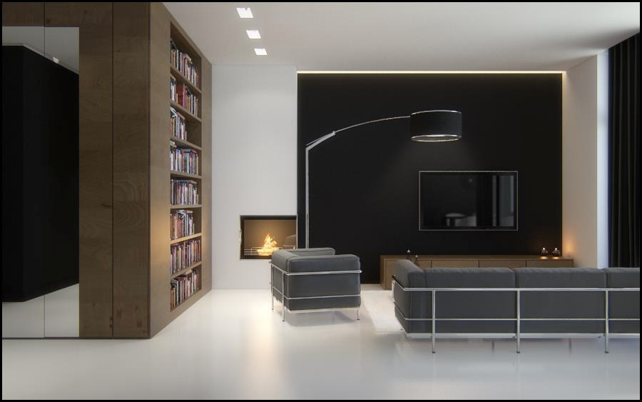 Black Brown White Sophisticated Living Room Interior Design Ideas