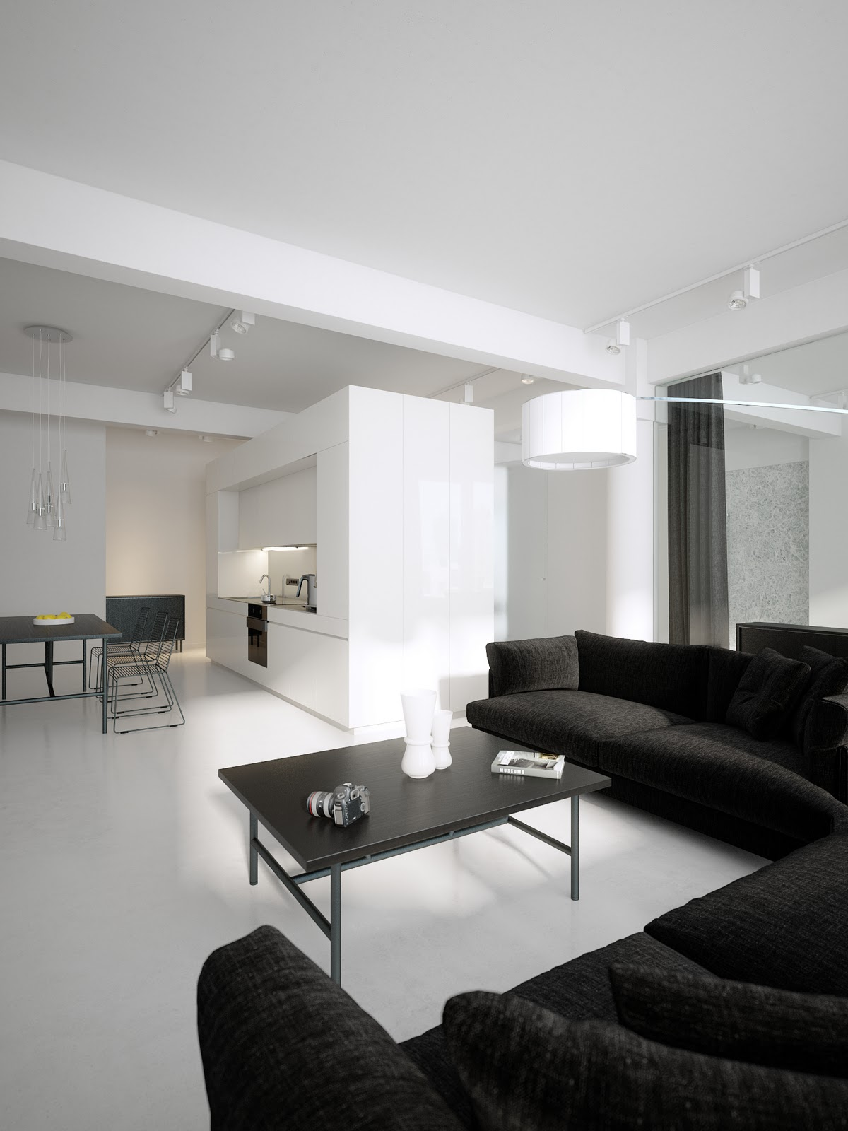 Modern minimalist black and white lofts for Minimalist decorating small spaces
