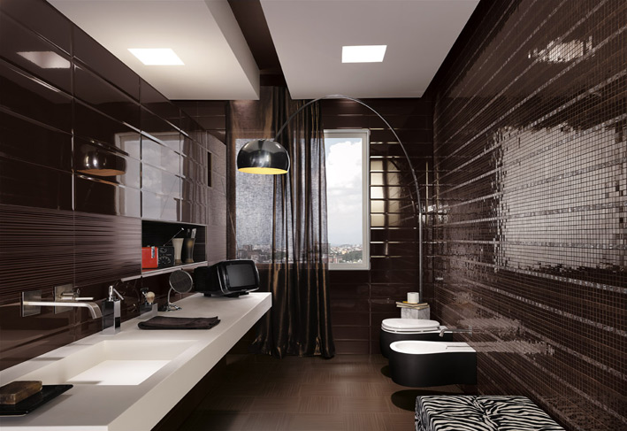 Black mosaic tiles maculine bathroom ideas interior for Mosaic bathroom designs