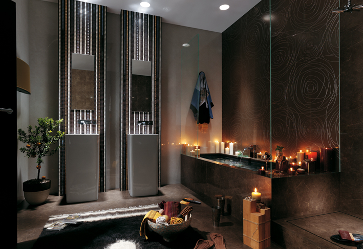 Black rose bathroom tile design interior design ideas for Black bathroom designs