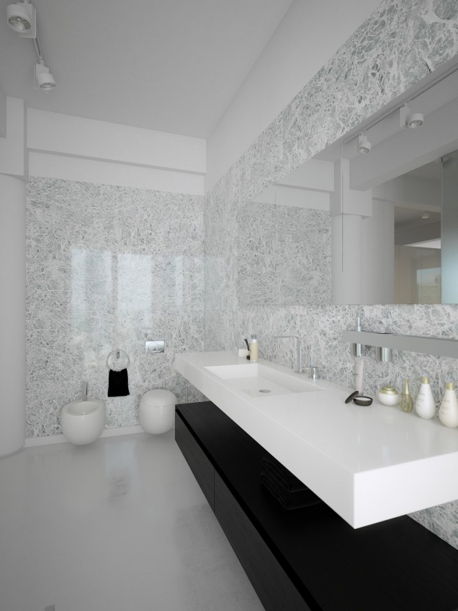 Black white contemporary bathroom design