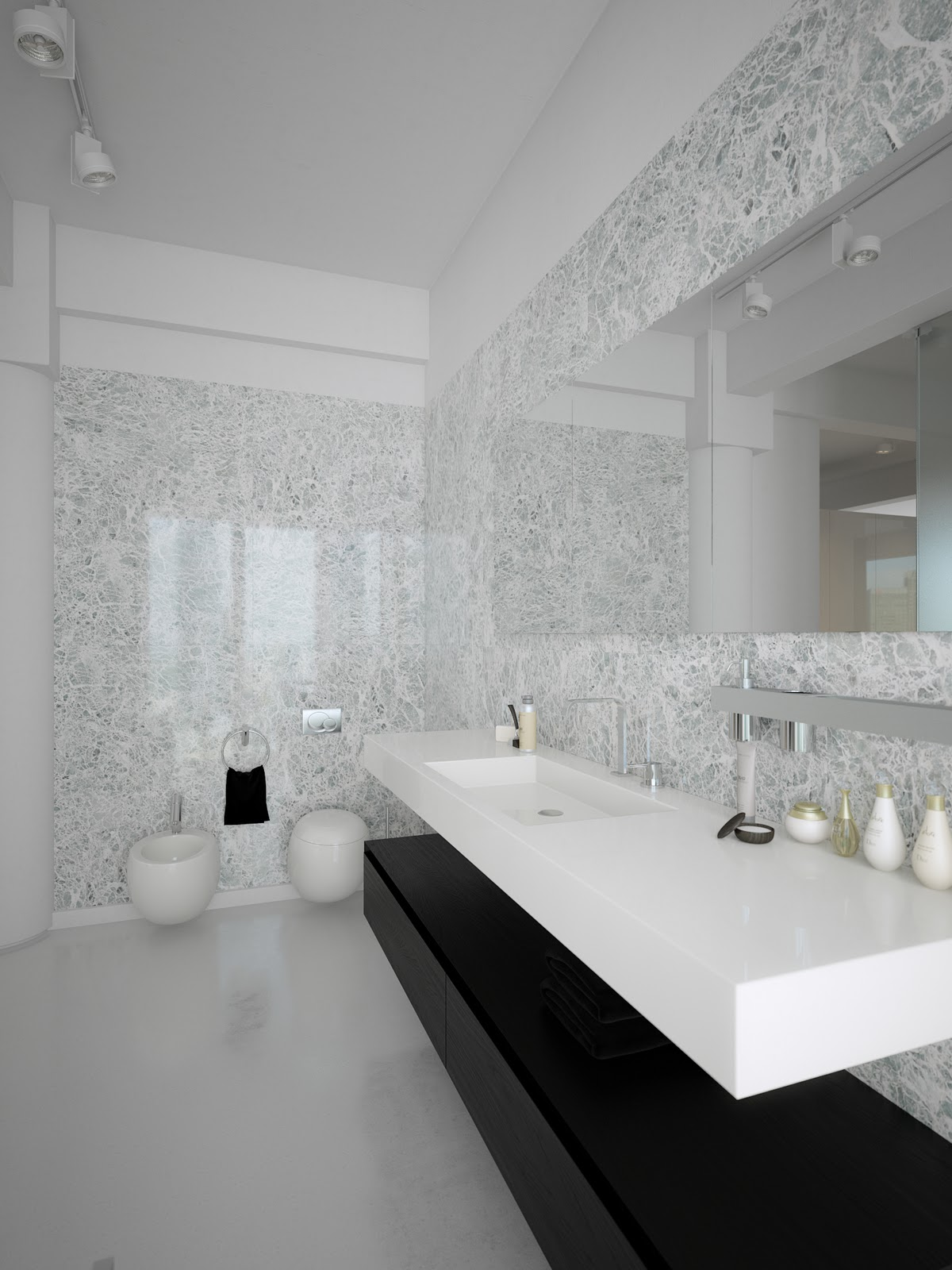 Bathroom Design White And Black : Black white contemporary bathroom design interior
