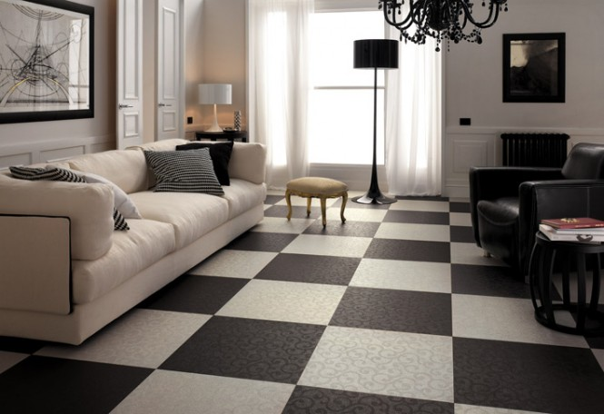 Black white living room checkered floor tiles