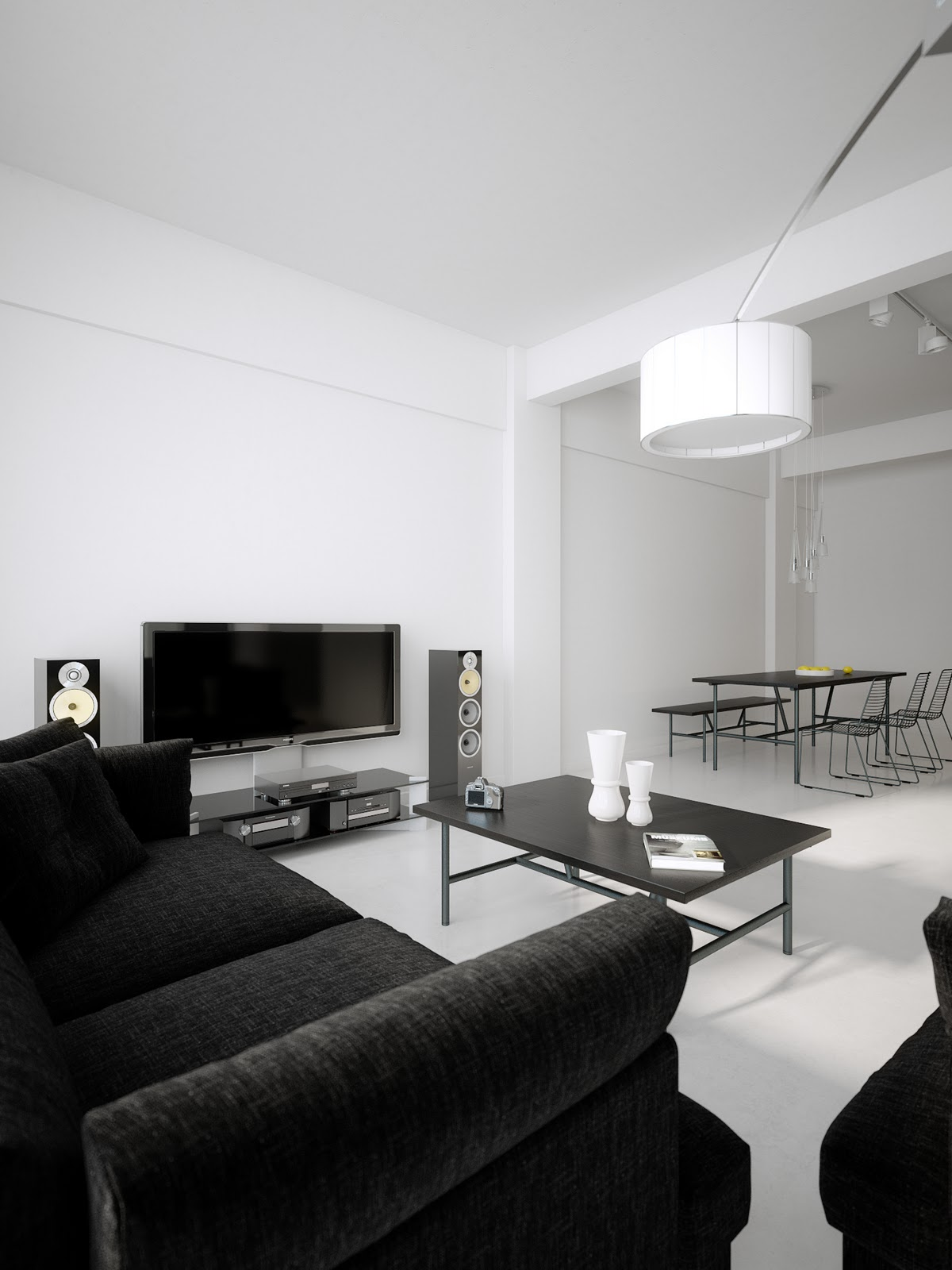 Modern minimalist black and white lofts for Simple modern living room