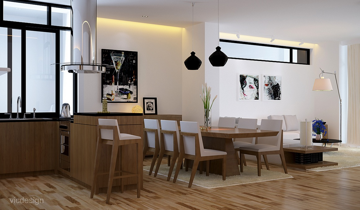 Black white oak dining suite kitchen lounge interior for Home lounge design