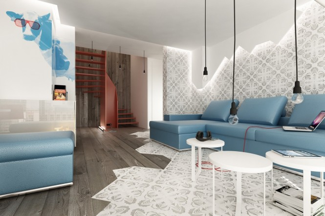 Blue Brown white modern living room