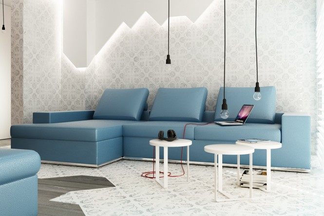 Blue L shaped sofa exposed bulb lighting feature