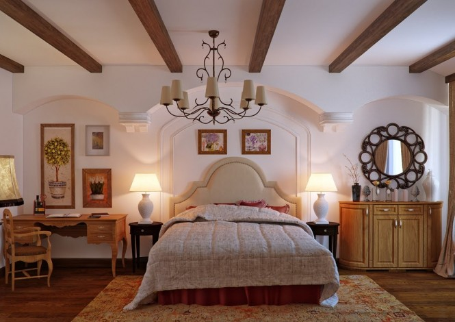 Nezus's traditional bedroom designs are full of character, drawing special attention to chunky ceiling beams and architectural features. Ornate furniture and lighting fixtures add a delicate note over the heavy backdrop, with pale wall colors allowing the pieces to stand out.