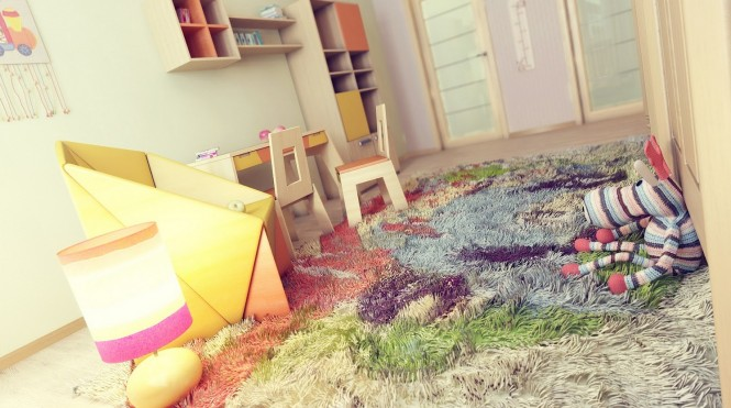 Colorful kids bedroom rug