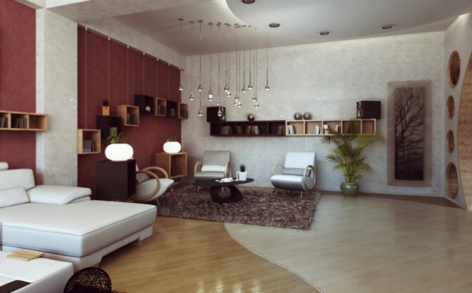 As you enter the living space, segregated shelving nooks hung at different height levels decorate a plain wall, echoing the stunning undulating muli-bulb lighting feature that zones one lounge area from another.