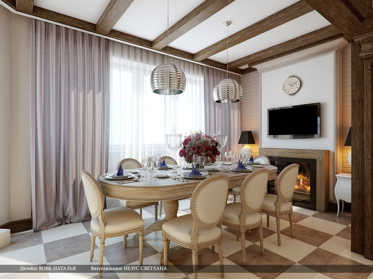 Cream Brown Chequered Floor Dining Room Interior Design Ideascream