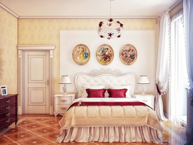 Cream red bedroom scheme