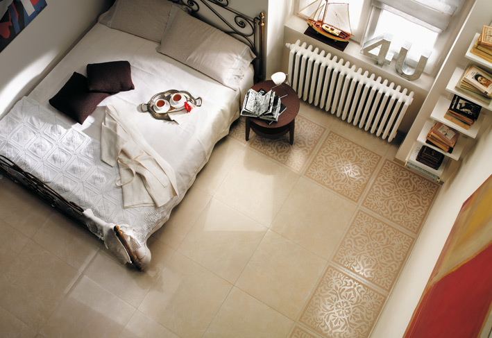 Cream White Bedroom Floor Tile Border Interior Design Ideas