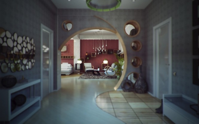 Unexpected architectural interest is created in the irregular curve of the doorway between the hall and the living room, featuring circular cutouts that capture tiny vignettes of the room as you draw nearer. A mirror with complimentary elliptical shapes flanks the left side to continue the theme along the full length of the space.