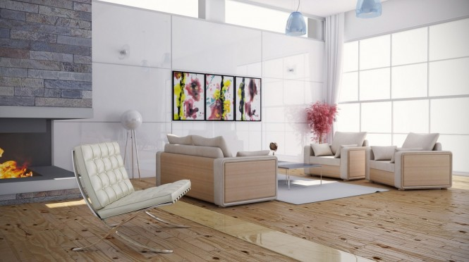 Feminine bright color scheme living room