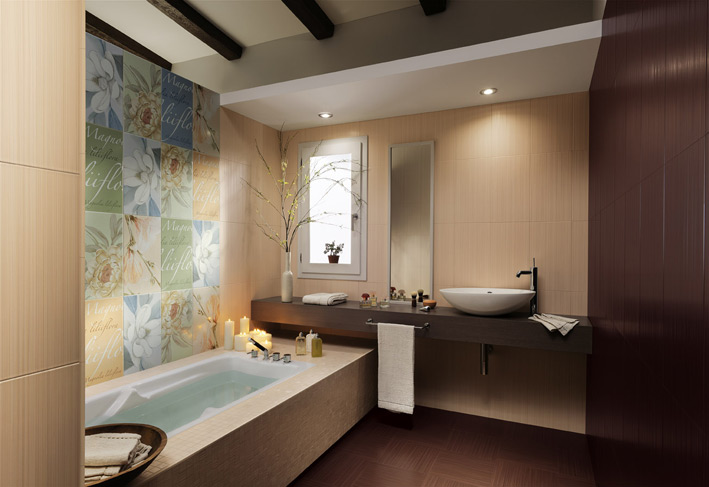 Floating Vanity Unit : Floral bathroom tiles floating vanity unit  Interior Design Ideas.