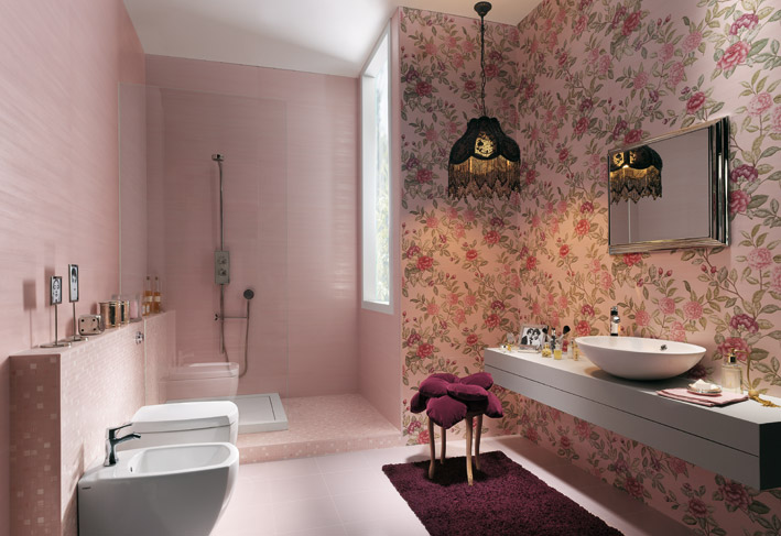 Floral bathroom wall ceramic tiles  Interior Design Ideas -> Banheiro Decorado De Rosa