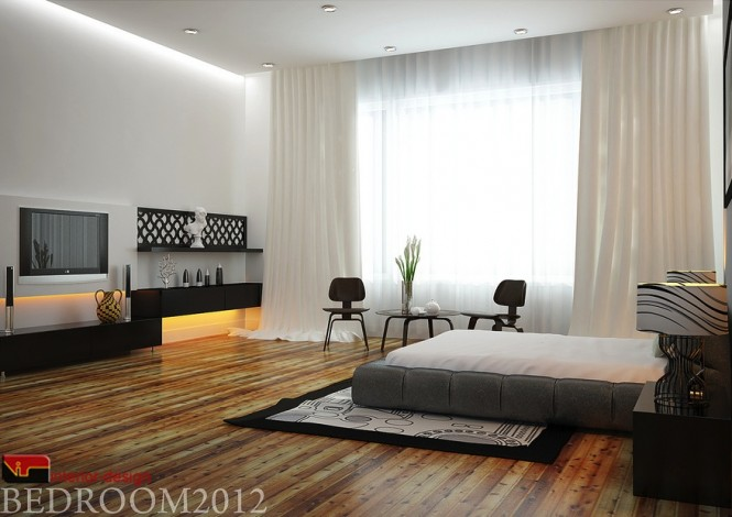 Gray black white modern bedroom