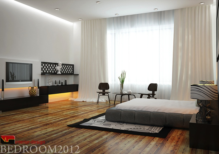 Gray black white modern bedroom interior design ideas for Bedroom designs black and grey
