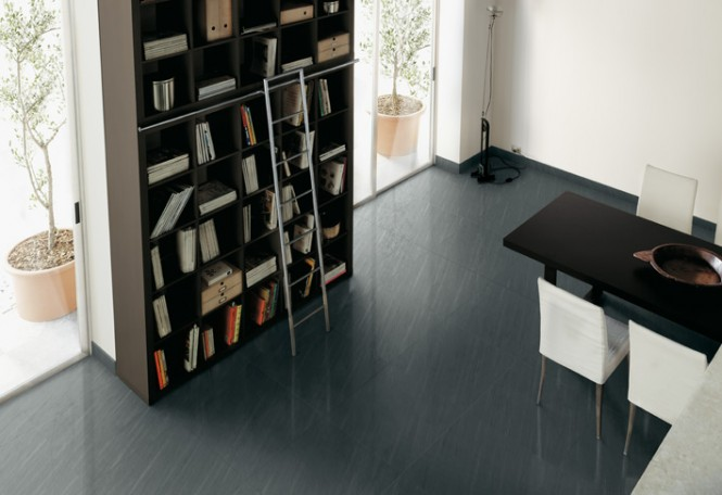 Gray ceramic tile floor home library dining room